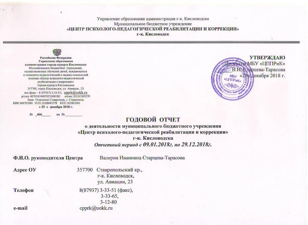 Годовой отчет о деятельности МБУ ЦППРиК Лист 1