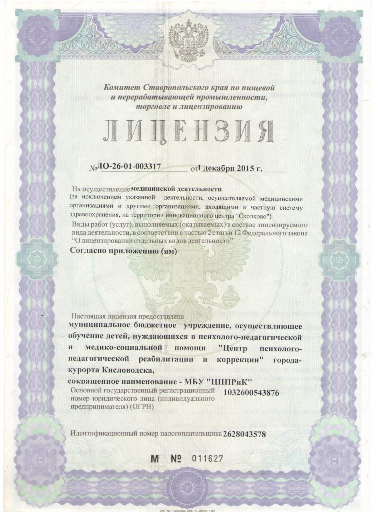 Лицензия на осуществление медицинской деятельности-1