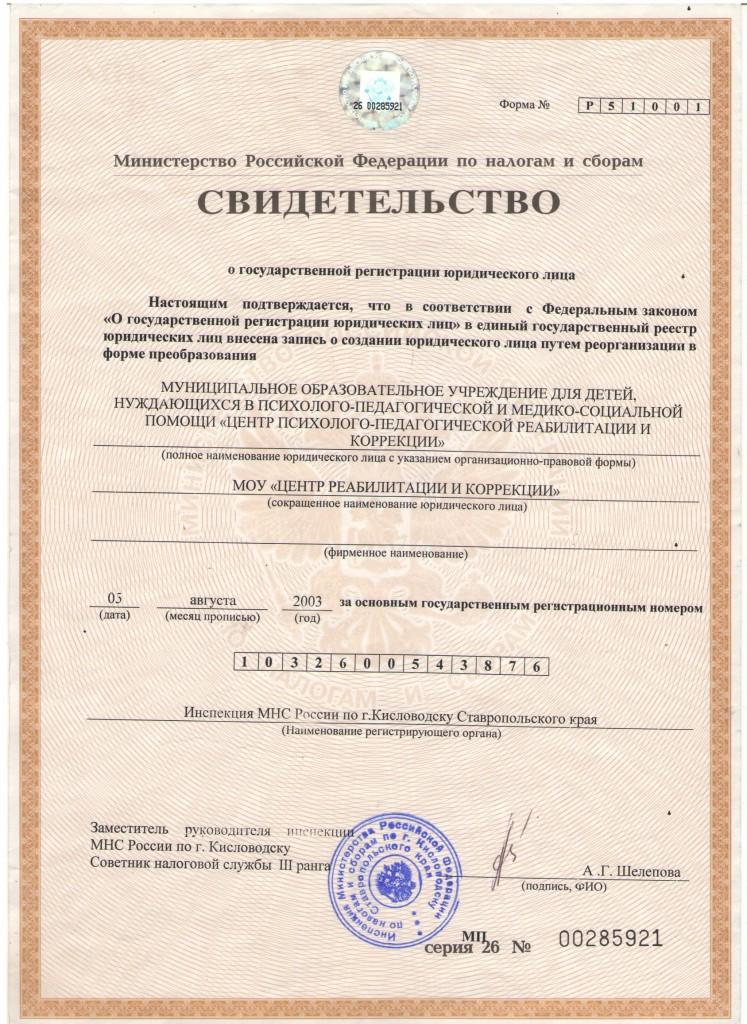 Свидетельство о Постановке на учет и свидетельство о ГРЮЛ-2