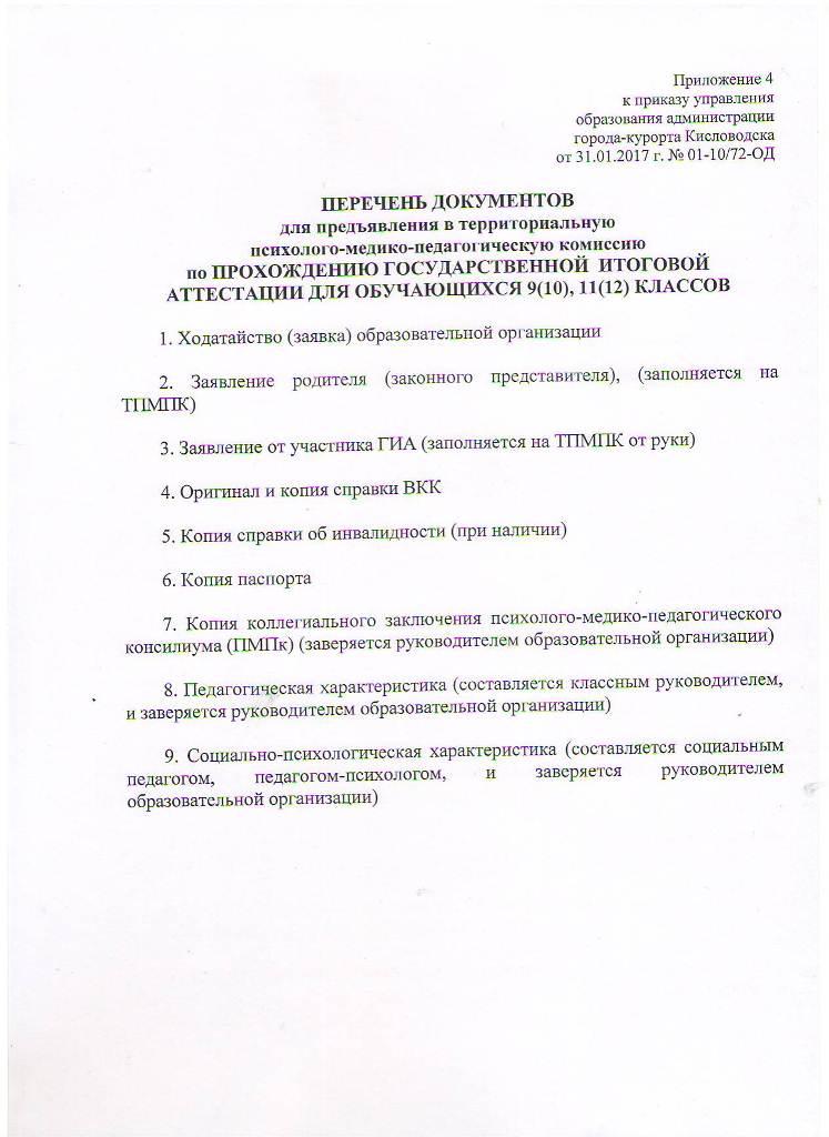 Перечень документов по ПРОХОЖДЕНИЮ ГИА для обучающихся