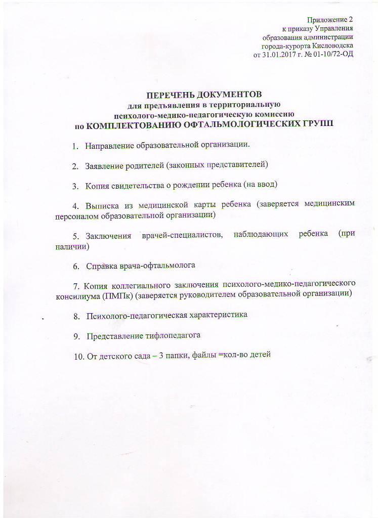 Перечень документов по ФОРМИРОВАНИЮ ОФТАЛЬМОЛОГИЧЕСКИХ ГРУПП